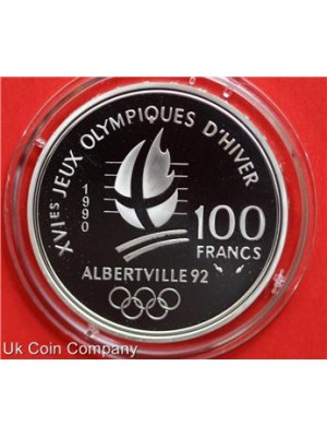 1990 france olympics silver 100f francs proof coin
