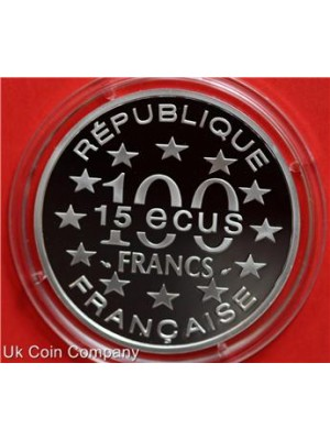 1993 france arc de triumph silver 100f francs proof 15 ecus coin