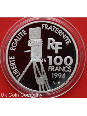 1994 france charlie chaplin centenary silver proof 100 francs coin in capsule