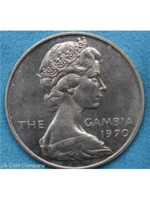 1970 gambia uncirculated 8 shilling coin