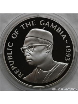 1993 gambia coronation anniversary silver proof 20 dalasis coin in capsule with certificate of authenticity