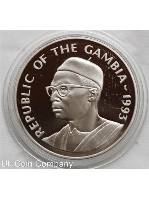 1993 gambia 1456 expedition silver 20 dalasis proof coin