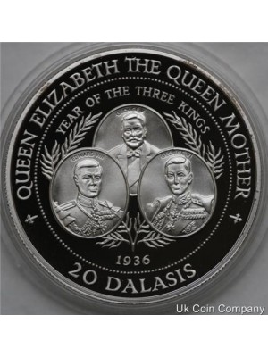 1994 gambia sterling 1 oz silver proof 20 dalasis coin with certificate of authenticity
