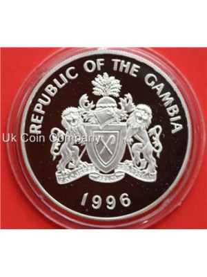 1996 gambia silver 10 dalasis proof coin