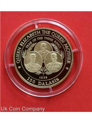 1996 GAMBIA LADY OF THE CENTURY 14 CARAT GOLD PROOF 150 DALASIS COIN