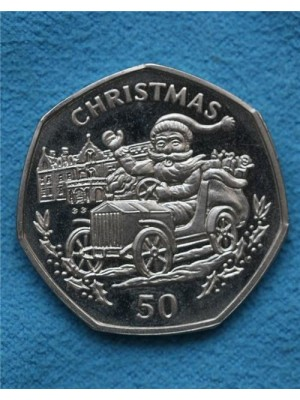 1993 gibraltar christmas proof 50p coin in capsule - very scarce coin