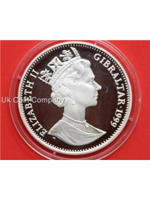 1999 gibraltar life of queen elizabeth ii silver  one crown proof coin