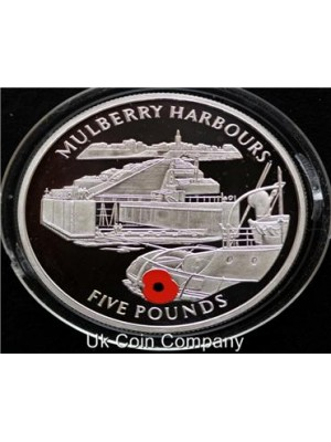 2004 gibraltar mulberry harbour silver £5 five pound proof coin