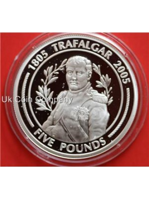 2005 gibraltar trafalgar silver proof five pound crown coin in capsule
