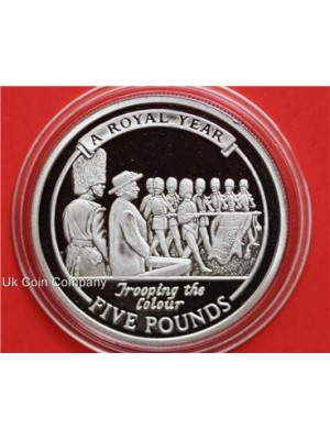 2005 gibraltar trooping the colour silver £5 five pounds proof coin