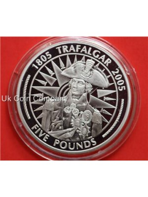 2005 gibraltar battle of trafalgar silver proof five pound crwon coin in capsule