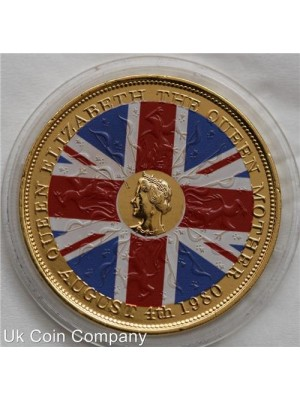 1980 united kingdom queen mother 80th birthday crown coin plated coloured in gold