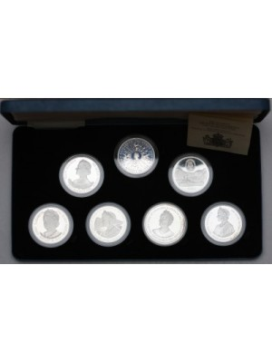 1980 royal mint queen mother 80th birthday silver proof seven crown coin set box & cert