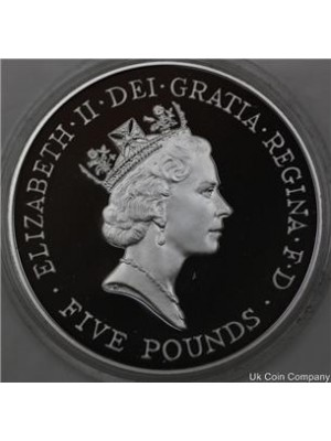 1996 uk royal mint qeen elizabeth ii 70th birthday £5 five pound silver proof crown coin with coa