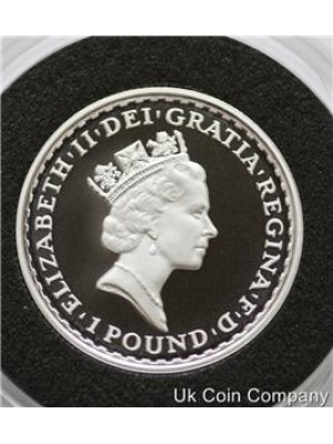 1997 britannia chariot £1 one pound fine 1/2oz silver proof coin in capsule
