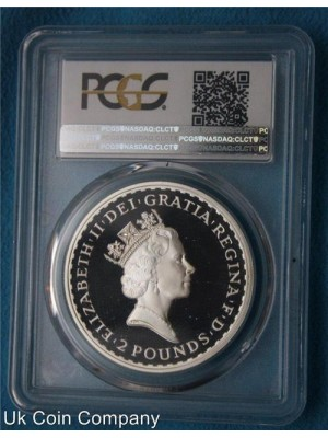 1997 Royal Mint Silver Proof Britannia £2 Coin Graded By Pcgs Pr69 Scarce