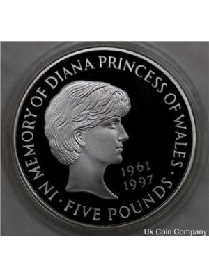 1999 uk royal mint lady diana spencer silver £5 five pound proof coin - boxed with coa