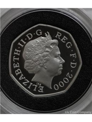 2000 royal mint public llbraries silver fifty pence proof coin with certificate of authenticity
