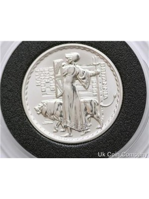 2001 uk britannia 1/2oz fine silver proof £1 one pound coin in capsule - low mintage coin