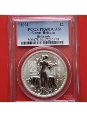 2001 Britannia 1oz Silver Proof £2 Two Pound Coin Certified Slabbed Graded By Pcgs As Pr69