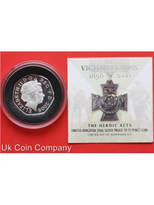 2006 victoria cross heroic acts silver fifty pence proof coin - boxed with certificate of authenticity