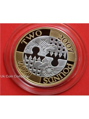 2007 royal mint act of union between england and scotland silver gold proof £2 two pound coin