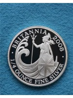2008 britannia silver proof 1/4oz 50p coin encapsulated - low mintage