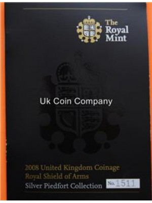 2008 Royal Mint United Kingdom Royal Shield Of Arms Silver Proof Piedfort 7 Coin Collection