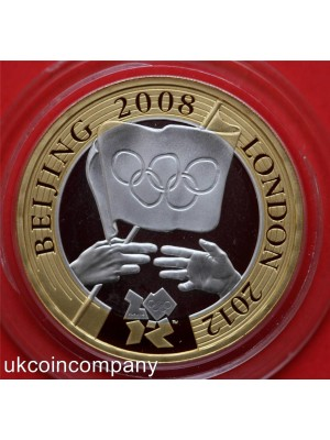 2008 united kingdom olympic games handover ceremony silver proof £2 coin boxed with royal mint certificate