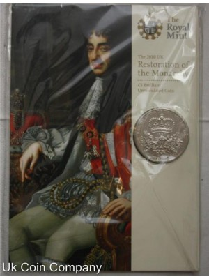 2010 royal mint restoration of monarchy £5 brilliant uncirculated coin