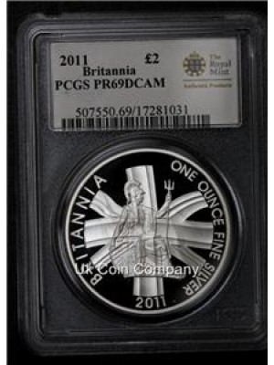 2011 Britannia 1oz Silver Proof  Two Pounds Coin Graded And Certified By Psgs As High Grade Pr69