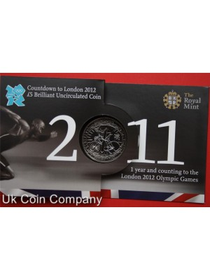 2011 olympic games royal mint brilliant uncirculated £5 coin in pack