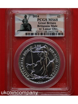 2014 britannia mule with lunar horse obverse 1oz silver two pounds coin graded certified by psgs as ms68