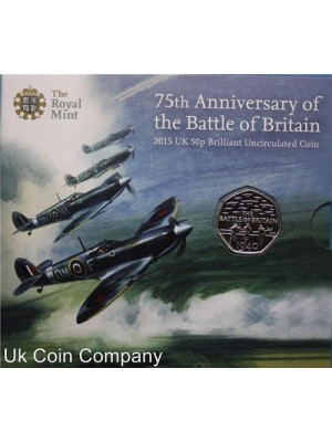 2015 Uk Royal Mint 75th Anniversary Battle Of Britain No Denomination Bu 50p Coin Pack