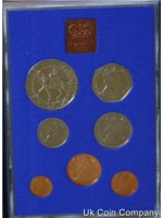 1977 Royal Mint Uk Decimal 7  Coin Proof Set