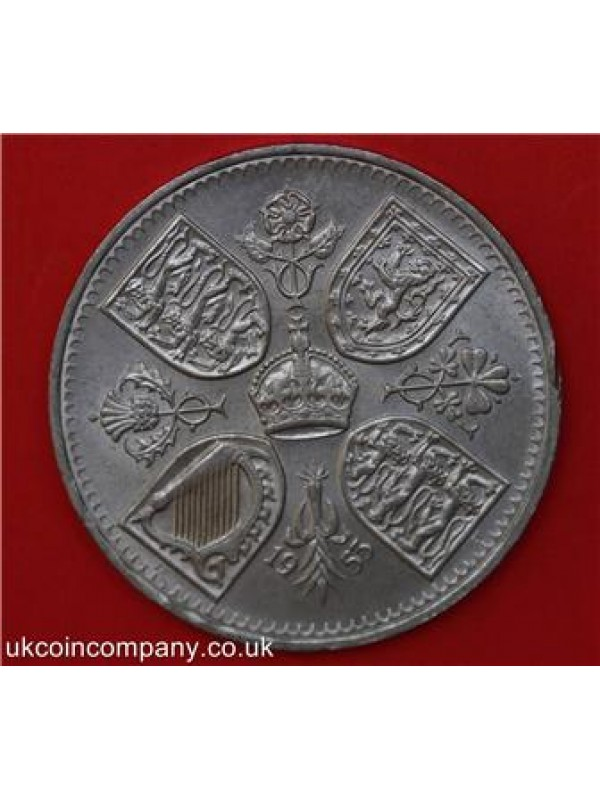 1953  GREAT BRITAIN QUEEN CORONATION FIVE SHILLINGS CROWN COIN