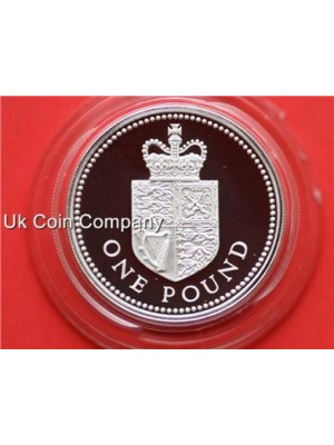 1988 united kingdom royal mint shield  £1 one pound proof coin Boxed with cert