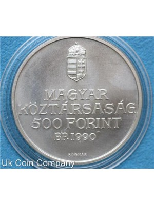 1990 hungary 200th anniversary birth of ferenc kolcsey silver bunc 500 forint coin.
