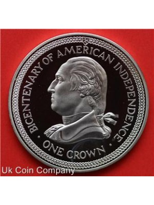 1976 isle of man bicentenary of american independence silver one crown proof coin