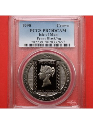 1990 isle of man penny black silver proof crown coin graded slabbed certified population of one top grade by pcgs as pr70