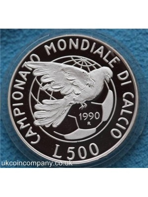1990 italy campionati mondiali di calcio italia silver proof L500 and L500 coins presented with original cert and box