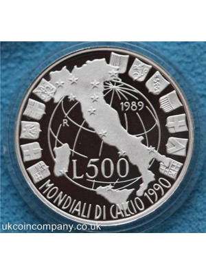 1990 italy campionati mondiali di calcio italia silver proof L500 and L200 coins presented with original cert and box