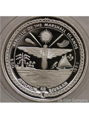 1989 marshall islands space station crew 1oz silver proof $50 fifty dollar crown coin