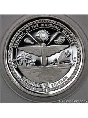 1989 marshall islands american space walk 1oz silver proof $50 fifty dollar crown coin