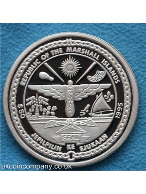 1995 marshall islands fifty dollars silver proof crown coin in capsule 1945 peace