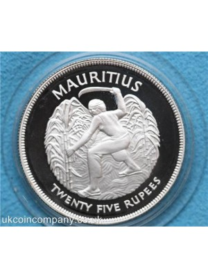1977 mauritius silver jubilee silver proof  twenty five rupee crown coin in original royal mint box