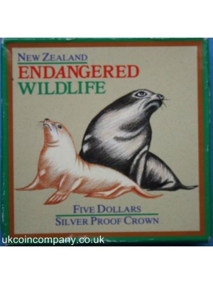 1993 new zealand endangered wildlife series 1oz silver frosted proof $5 crown coin boxed with certificate - The New zealand Sea Lion