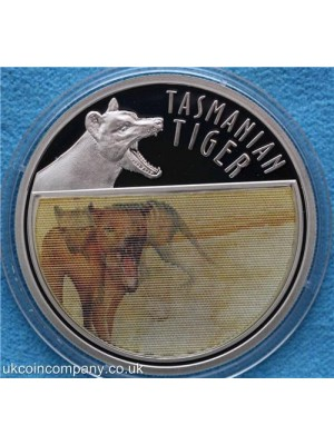 2011 niue the last tasmanian tiger lenticular holographic silver proof $5 coin boxed with certificate of authenticity