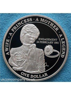 2011 niue island princess diana engagement silver plated proof one dollar coin in capsule