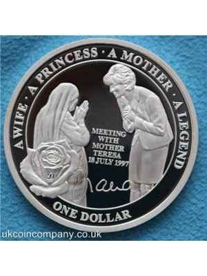 2011 niue island princess diana meeting with mother teresa silver plated proof one dollar coin in capsule